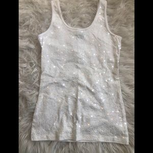 rue 21 white sequence tank top sz L
